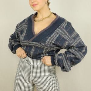 Purple blue wool chunky checked v-neck sweater
